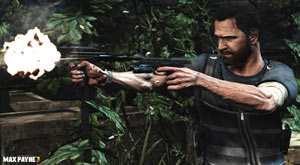 Max dual-wielding in the jungle in Max Payne 3