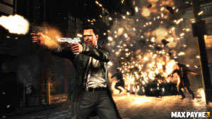 Max leaving a trail of destruction in his wake in Max Payne 3