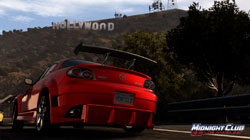 Car beneath the Hollywwod sign in 'Midnight Club: Los Angeles''