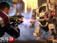 Shepard using a powerful gun against a charging mech in Mass Effect 3