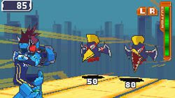Mega Man fighting strange enemies in 'Mega Man Star Force: Red Joker'