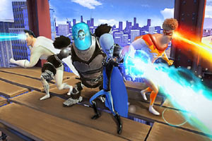 The Megamind team unleashing their powers in Megamind: the Blue Defender