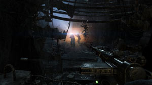 Taking aim at approaching enemies in Metro: Last Light