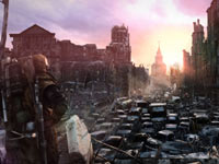 A view of the ruined and overgrown Moscow in Metro: Last Light