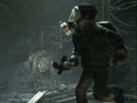 A survivor being chased by multiple creatures in Metro: Last Light