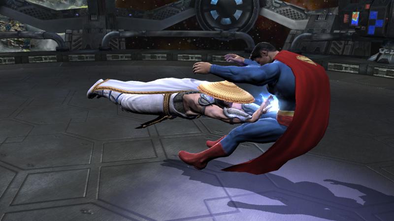 Raiden laying into Superman in Mortal Kombat vs. DC Universe for Xbox