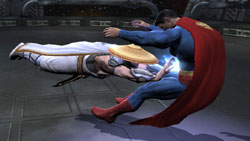 Raiden laying into Superman in Mortal Kombat vs. DC Universe for Xbox 360