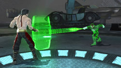 Green Lantern weilding his hammer Mortal Kombat vs. DC Universe for PS3
