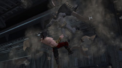 Batman battling Liu Kang in Freefall Kombat in Mortal Kombat vs. DC Universe for Xbox 360