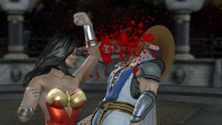 Wonder Woman knocking Raiden's block off in Klose Kombat in Mortal Kombat vs. DC Universe for Xbox 360