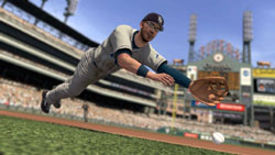 Evan Longoria diving for a ball in MLB 2K10
