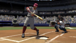 Hitter making contact with the ball out in front of the plate in MLB 2K10
