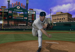 Following through on a pitch in Major League Baseball 2K12 for PSP