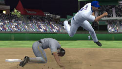 Infielder leaping to avoid a sliding baserunner in 'MLB 09: The Show'