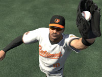 A Baltimore player making a catch in the outfield in MLB 12 The Show