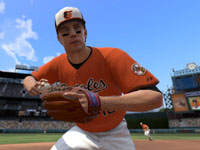 A Baltimore player making a play in the infield in MLB 12 The Show