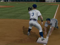 Runner diving back to third in MLB 2K11