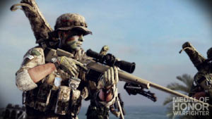 A sniper taking aim in Medal of Honor: Warfighter