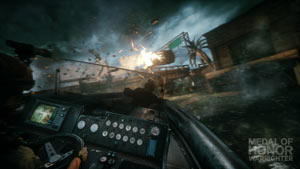 Firing mounted weapons from an attack boat in Medal of Honor: Warfighter