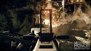 Looking down the sights of a gun in Medal of Honor: Warfighter