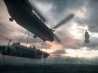 Large combat helicopters transporting an attack boat out of the water in Medal of Honor: Warfighter