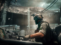 Driving an open topped vehicle through a bombed out area in Medal of Honor: Warfighter