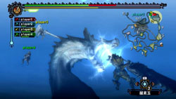 Co-op action underwater in Monster Hunter Tri