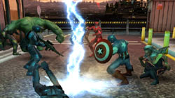 A four-hero team example from Marvel Ultimate Alliance 2 for Wii