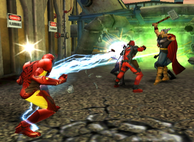 Iron Man blind-siding an enemy in Marvel Ultimate Alliance 2 for PS2