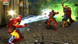 Iron Man blind-siding an enemy in Marvel Ultimate Alliance 2 for Wii