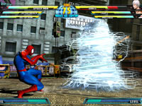 Spider-Man wrapping Dante up tight in Marvel vs. Capcom 3: Fate of Two Worlds