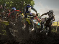 Bar banging as you head up a hill in a crowd of riders in MX vs ATV Alive