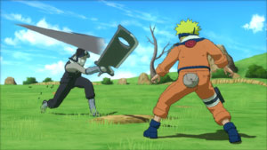 Naruto facing a blade-wielding enemy in Naruto Shippuden: Ultimate Ninja Storm Generations