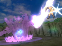 Naruto being knocked airborn by a specter conquered up by an enemy in Naruto Shippuden: Ultimate Ninja Storm Generations
