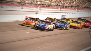 Cars tightening up as they race down a straighaway in NASCAR The Game 2011
