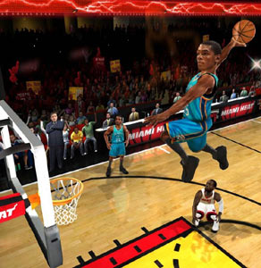 Kevin Durant soaring unimpedded into a jam in NBA JAM
