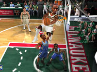Two-on-two action featuring the Bucks and the Kings in NBA JAM