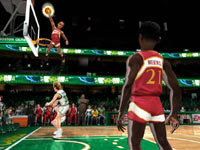 Two-on-two boss battle featuring the Larry Bird era Celtics and the Dominique Wilkins era Hawks in NBA JAM