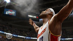 Lebron James' customary dusting of the scorer's table at the beginning of a game in 'NBA LIVE 10'
