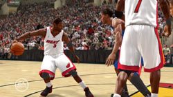 D Wade working off the dribble and a pick in 'NBA LIVE 10'