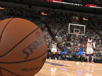 A TV style shot with ball on the court in NBA Live 13
