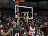 The Spurs putting up a shot against the Blazers NBA 2K10