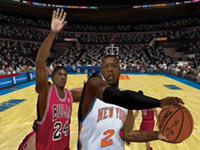 The Knicks going to the hole against the Bulls in NBA 2K10