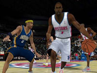 Pacers defender frozen by a Pistons offensive move NBA 2K10