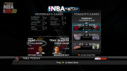 News and stats with NBA Today functionality in NBA 2K10
