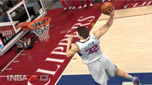 Blake Griffin throwing down a dunk in NBA 2K13
