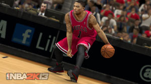 Derrick Rose working a crossover dribble in NBA 2K13