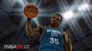 Kevin Durant palming the ball in front of the camera in NBA 2K13