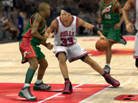 Scottie Pippen posting up against the Sonics in NBA 2K13