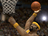 Wilt Chamberlain scoring in front of the basket as a Laker in NBA 2K13